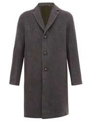 Paul Smith Single Breasted Brushed Wool Blend Overcoat Grey