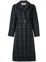 Ports 1961 Checked Trench Coat Blue