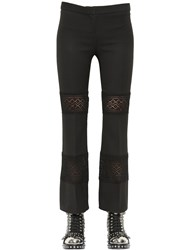 Alexander Mcqueen Wool And Silk Blend Crepe And Lace Pants