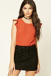 Forever 21 Pleated Cap Sleeve Blouse Rust