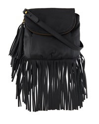 Cynthia Vincent Autumn Leather Fringe Crossbody Bag Black