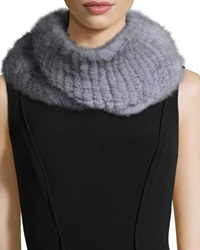Pologeorgis Knitted Mink Fur Infinity Scarf Gray
