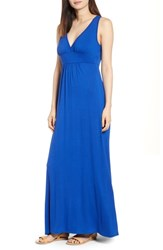 Loveappella V Neck Jersey Maxi Dress Blue Mazarine