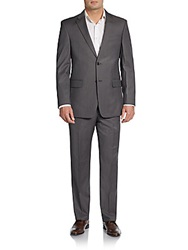 Tommy Hilfiger Slim Fit Striped Wool Suit Taupe Grey
