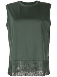Kuho Fringe Hem Sleeveless T Shirt Green