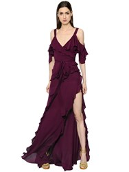 Elie Saab Ruffled Crepe Georgette Dress