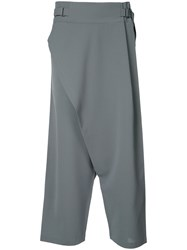 132 5. Issey Miyake Drop Crotch Cropped Trousers Women Polyester 3 Grey