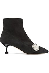 Miu Miu Crystal And Faux Pearl Embellished Suede Ankle Boots Black