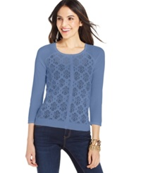 August Silk Waffle Knit Floral Cardigan Bluebell