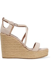 Tabitha Simmons Jenny Cutout Suede Wedge Sandals Neutral