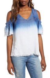 Billy T Dip Dye Embroidered Cold Shoulder Blouse Blue White Embroider