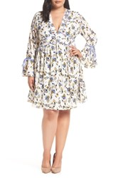 Glamorous Plus Size Contrast Detail Tie Sleeve Dress Cream Blue Floral