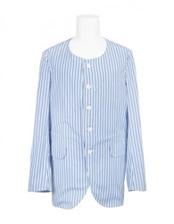 Comme Des Garcons Striped Collarless Jacket White Blue