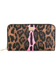 Dolce And Gabbana Leopard Print Continental Wallet Brown