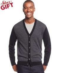 Club Room Merino Wool Colorblocked Cardigan Only At Macy's Ebony