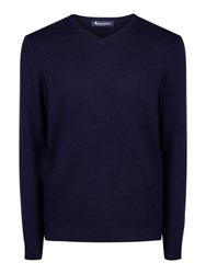 Aquascutum London Men's Lyndon V Neck Cashmere Knit Navy
