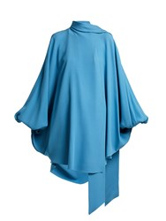 Valentino Wrap Front Silk Cady Tunic Top Blue