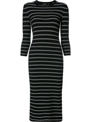 Theory Striped Fitted Dress Black