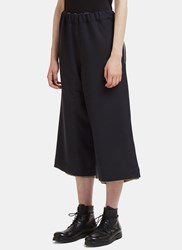 Marvielab Oversized Cropped Wide Double Layered Pants Black