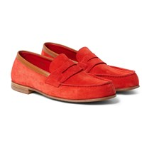 J.M. Weston 281 Le Moc Suede Loafers Red