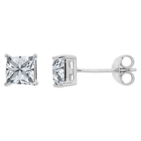 Nina B 9Ct White Gold Cubic Zirconia Stud Earrings Square