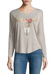 Chaser Drop Shoulder Graphic Top Cool Grey