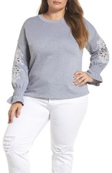 Lost Ink Plus Size Women's Broderie Anglaise Embellished Sweatshirt Grey