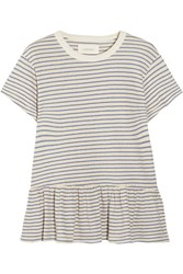 The Great Ruffle Striped Cotton Jersey T Shirt Blue