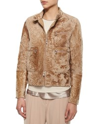 Brunello Cucinelli Shearling Fur Bomber Jacket Toffee
