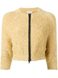 Brunello Cucinelli Cropped Zipped Cardigan Yellow Orange