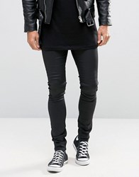 Asos Extreme Super Skinny Jeans In Leather Look Black Black
