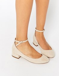 Blink Ankle Strap Low Heeled Ballerina Shoes Taupe Beige