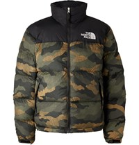 The North Face 1996 Retro Nuptse Camouflage Print Quilted Shell And Ripstop Hooded Down Jacket Green