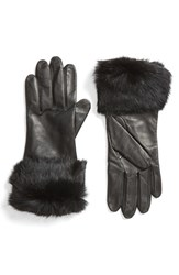 Fownes Brothers Women's Leather Gloves With Genuine Rabbit Fur Cuffs
