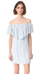 Wayf Off Shoulder Dress Blue Stripe