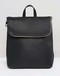 Missguided Fold Over Zip Detail Backpack Black