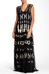Biya Embroidered Lace Maxi Dress Black