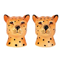 Klevering Andleopard Face Salt And Pepper Shakers