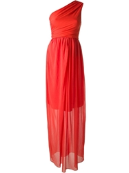 Carven One Shoulder Draped Gown Yellow And Orange