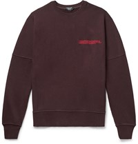 Calvin Klein 205W39nyc Oversized Distressed Logo Embroidered Loopback Cotton Jersey Sweatshirt Burgundy