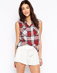 Only Plaid Sleeveless Shirt Redcheck