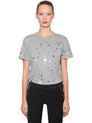 Red Valentino Star Printed Cotton Jersey T Shirt Grey