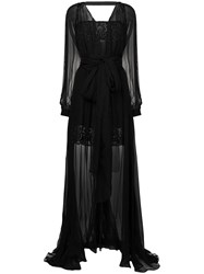Versace Embroidered Layered Tulle Gown Black