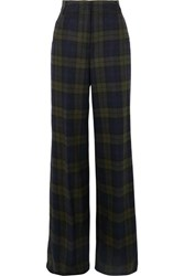 Akris Floyd Checked Wool Blend Wide Leg Pants Green