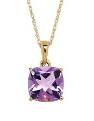 Lord And Taylor Amethyst 14K Yellow Gold Pendant Necklace