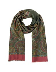 Forzieri Paisley Print Silk And Modal Reversible Men's Scarf Burgundy