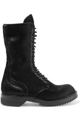 Rick Owens Faux Calf Hair And Leather Ankle Boots Black