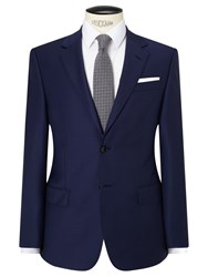 John Lewis Sharkskin Super 120S Wool Regular Fit Suit Jacket Blue