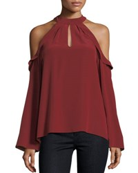 Ramy Brook Martie Cold Shoulder Bell Sleeve Crepe De Chine Blouse Black