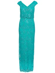 Gina Bacconi Embroidered Corded Mesh Maxi Dress Summer Green